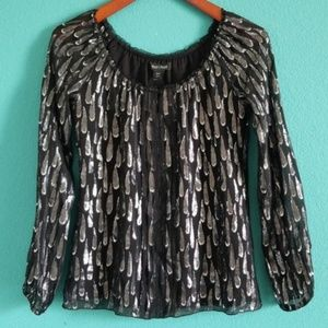 {WHBM} Black & Silver Silk Raindrop Top
